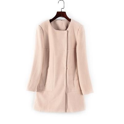 谷系列 秋冬新品女装剪标折扣库存圆领修身长袖可爱 毛呢大衣