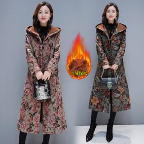 冬季民族风棉衣女大码长款过膝加绒加厚棉服棉袄盘扣印花连帽外套
