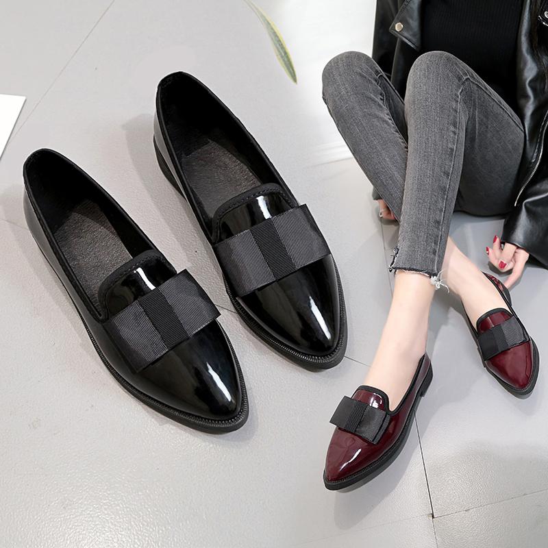 韩版尖头女鞋平底英伦