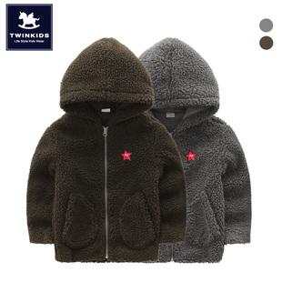 韩国小木马twinkids童装男童女童冬季双层加绒加厚棉服连帽外套