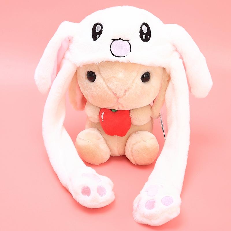 抖音玩具同款耳朵会动的毛绒兔子帽子耳朵会竖立帽子搞怪儿童礼物