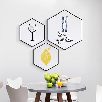 好胃口餐厅装饰画简约六边形客厅壁画厨房餐桌墙画北欧风饭厅挂画领取优惠券