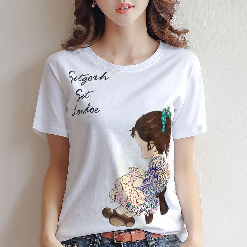 95%棉T恤女短袖2019夏装新款印花百搭宽松大码体恤上衣白色女桑葚
