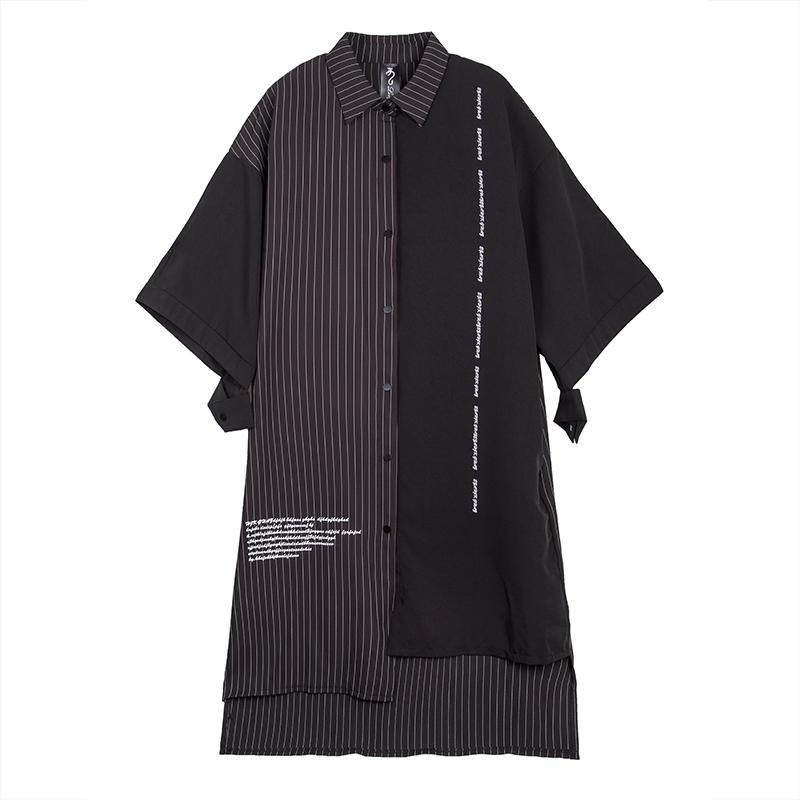 欧美个性BF风衬衣条纹不规则拼接衬衫加长款开衫大码夏季潮款女装