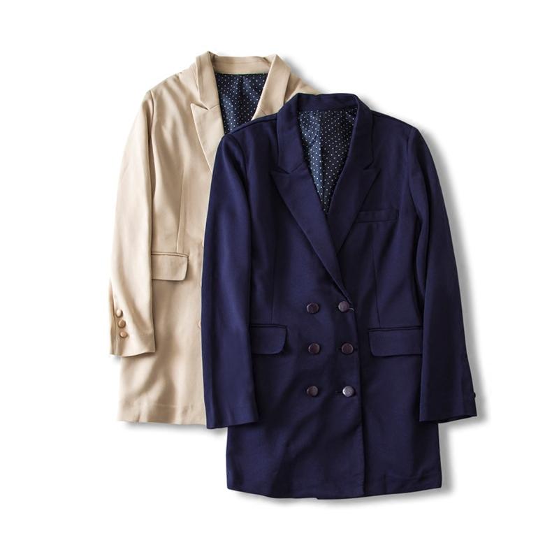 日本秋季OL通勤气质经典双排扣女式翻领西装宽松大码中长款外套