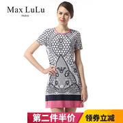 Max LuLu2018夏季新款中老年妈妈大码复古印花圆领短袖连衣裙女