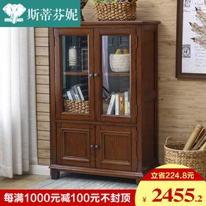 斯蒂芬妮白蜡木美式乡村全实木酒柜多功能储物柜双门边柜客厅家具