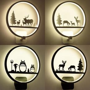 【可调光北欧壁灯床头灯卧室艺术客厅过道楼梯灯简约现代创意儿童