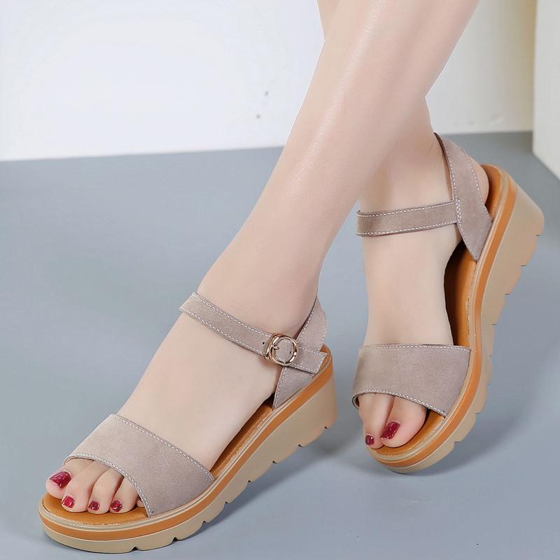 凉鞋女夏季新款百搭舒适坡跟厚底中跟夏平跟韩版平底学生真皮女鞋