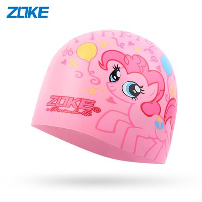 洲克儿童硅胶泳帽男女童防水护耳游泳帽子小马宝莉卡通女孩游泳帽
