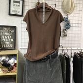 春秋季新款韩版宽松显瘦文艺纯色短袖V领套头针织衫女打底衫毛衣