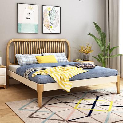 儿童床男女孩简约北欧实木床1.81.5米双人床高箱储物床主卧室家具年货节折扣