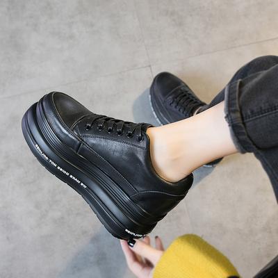 松糕鞋女厚底单鞋2018秋冬季新款英伦风真皮百搭黑色系带女鞋韩版