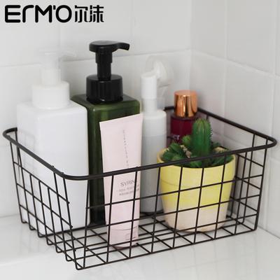 日式铁艺化妆品收纳筐大容量美妆收纳盒简约桌面收纳篮面膜置物框
