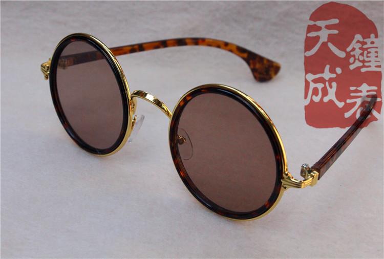 复古水晶石老式眼镜圆框男士正品石头太阳镜平光养目眼镜影视道具