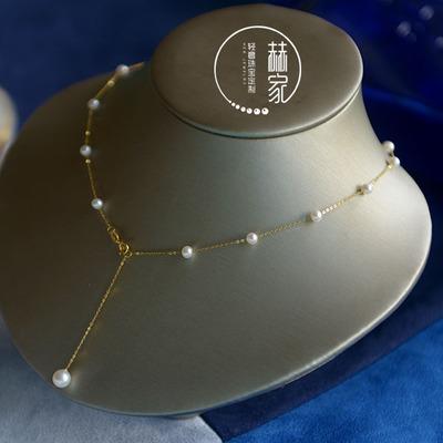 原创18k金天然珍珠满天星锁骨链Y链多用项链脚链不褪色不过敏礼物
