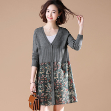 New Autumn and Winter Dresses for Mid-and Long-style Women's Clothes in Yipinle's Originally Large-Size Loose Fragmented Flower Stitching Knitted cardigan