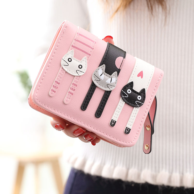 日韩版可爱卡通猫咪短款女士钱包1元优惠券