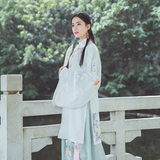 Painting screen Han clothes, women's clothes, ancient style suits, spring and Autumn Fairy atmosphere, daily long jacket skirts, embroidered Pipa sleeves, standing in the lead of Chinese style