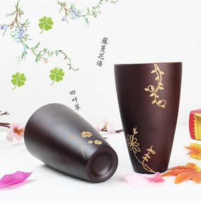 日式四叶草木质创意手工木杯子带盖勺实木中国风咖啡杯雕刻早餐杯