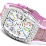 二手正品 FM法蘭克穆勒V32 精鋼后鑲鉆 酒桶型石英女士手表可驗貨