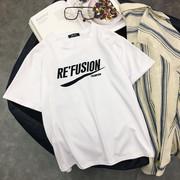 2018夏季新款纯棉白色短袖女t恤个性字母简约宽松上衣韩范百搭bf