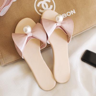 拖鞋女夏时尚外穿平跟软底蝴蝶结珍珠凉拖鞋甜美平底沙滩学生百搭