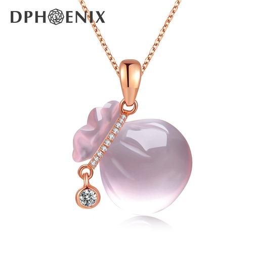钻石凤凰 18k玫瑰金钻石吊坠女款 芙蓉石镶钻福袋项坠福气满满