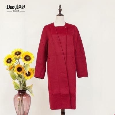 DuoYi/朵以2018秋装新款正品气质翻领双面尼毛呢外套呢大衣女6Q