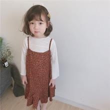 长袖 T恤荷叶边碎花吊带连衣裙子两件套装 2018春装 韩国女童装 新款图片