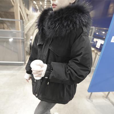 2018年冬季韩版中长款连帽羽绒服女大毛领腰部抽绳撞色工装派克服