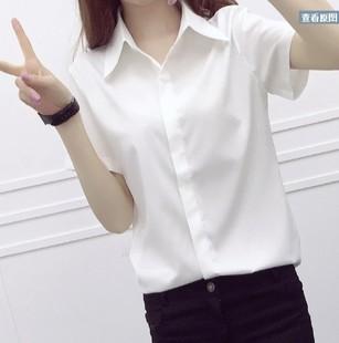 2019白色修身顯瘦百搭翻領工裝OL白襯衫正裝白襯衫