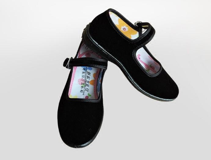 女童平底小礼仪鞋老北京布鞋儿童舞蹈鞋平跟黑色舞台演出平绒布鞋