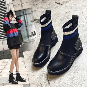 袜靴瘦瘦靴短靴女2018新款百搭chic马丁靴女粗跟厚底ins短筒靴子