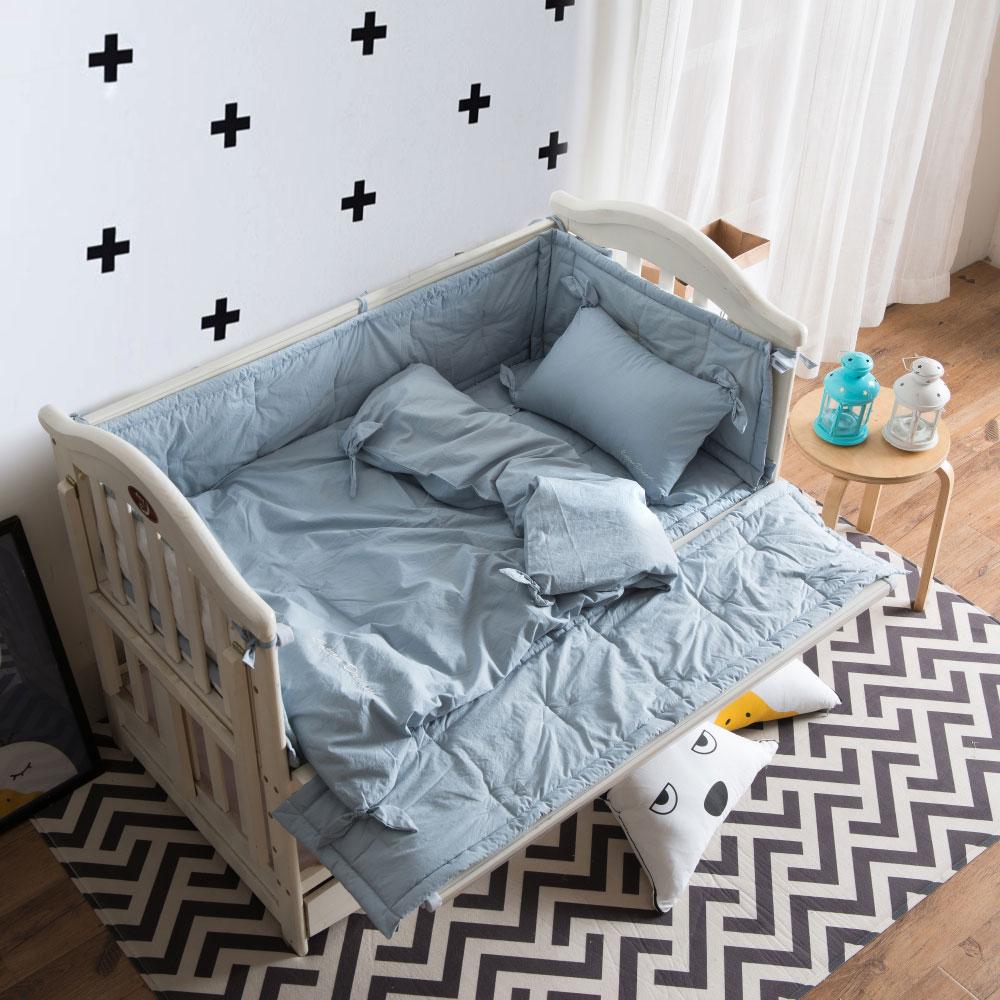 水洗棉婴儿床上用品纯棉防撞床围五件套新生儿宝宝儿童床帏可拆洗