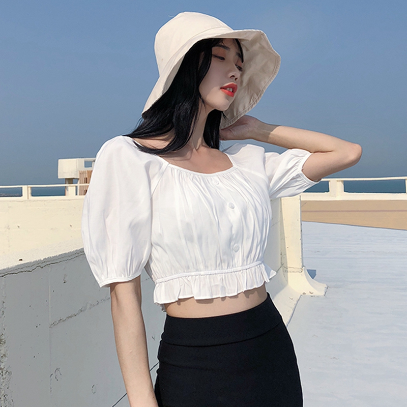 summer Korean chic wood ear high waist slim slim short white shirt female