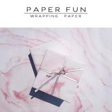 粉红色清新大理石纹理礼品纸包书纸书皮高档礼物包装 PaperFun