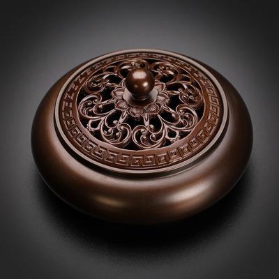 纯铜盘香炉家用室内熏香炉仿古沉檀香薰 供佛茶道创意摆件