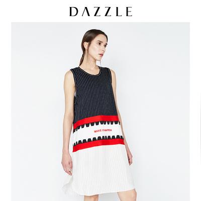 DAZZLE地素 新款 运动风拼接刺绣显瘦条纹T恤连衣裙 2A2O32678