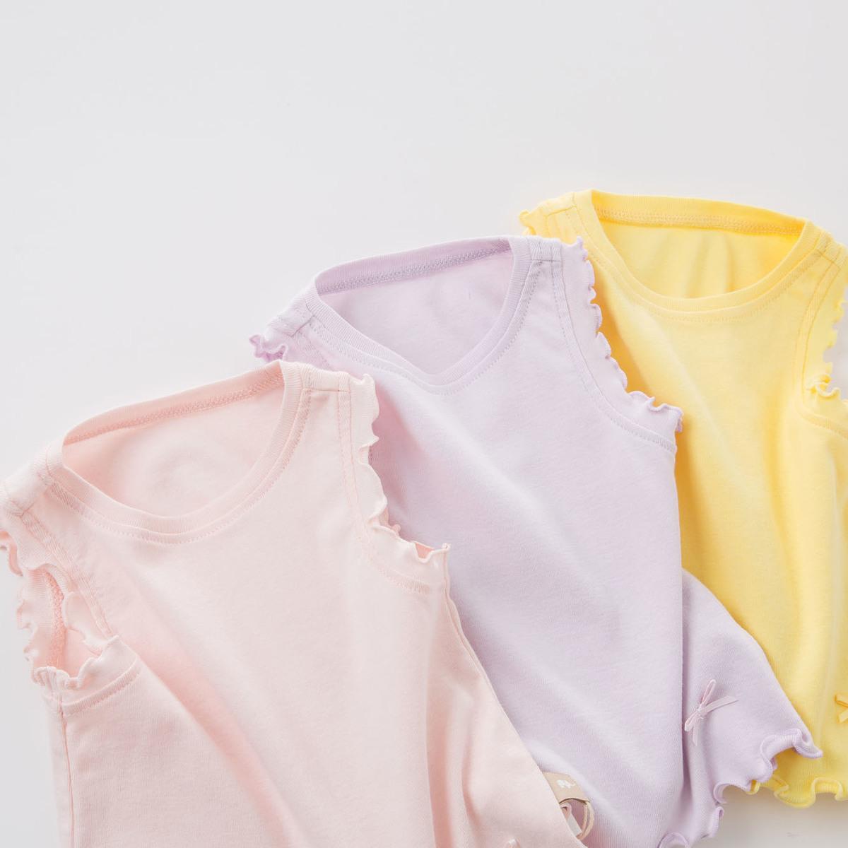davebella戴维贝拉夏装新款女童背心 宝宝纯棉无袖上衣 3色DB7019