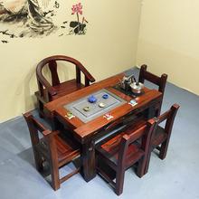 老船木茶台实木茶桌椅组合小型阳台茶几简约现代户外功夫泡茶桌子