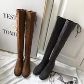 【三宅家】2019秋冬过膝靴女中跟绑带弹力靴瘦腿长筒靴大腿长靴
