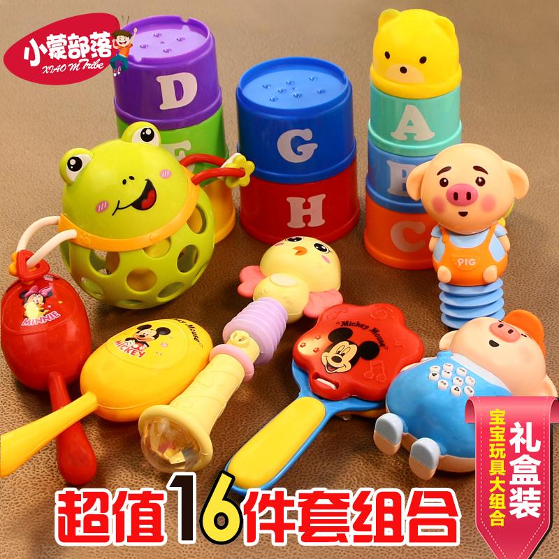 婴儿玩具小萌猪早教故事机摇铃3-6个月新生儿宝宝软胶球玩具套装