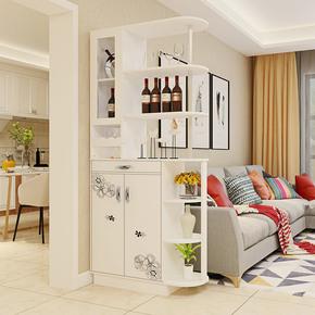 欧式玄关柜隔断柜简约现代客厅屏风柜双面仿实木进门鞋柜白色酒柜
