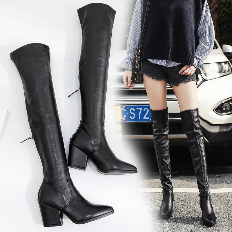 2018秋冬尖头高跟过膝长靴粗跟后拉链瘦腿弹力靴高筒靴骑士靴女靴