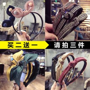 韩版 新款 烫金细边打结头箍蝴蝶结发卡带齿防滑兔耳朵发箍水钻压发