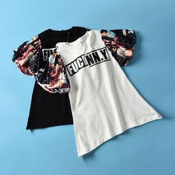 FG系列童装2017夏季新款拼接喇叭袖可爱短袖T恤H@24-Z06-18081