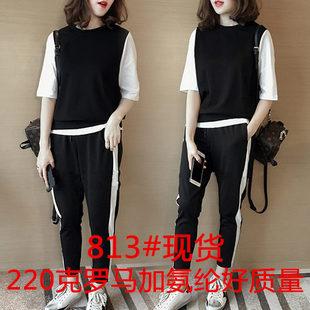 新款女装时尚拼色半袖t恤上衣两件套休闲哈伦裤运动裤子套装813