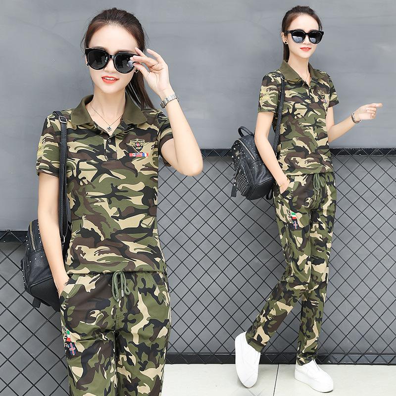 迷彩短袖套装女夏季新款大码军装T恤短裤两件套迷彩水兵舞服女潮