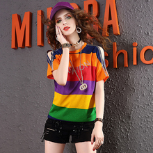 Summer wear color striped short sleeve T-shirt Women's European Station 2019 Fashion Baitao Chao brand hot drill Shoulder-exposed loose-fitting T-shirt